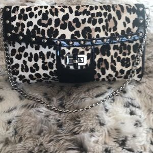 WHBM leopard print large clutch purse